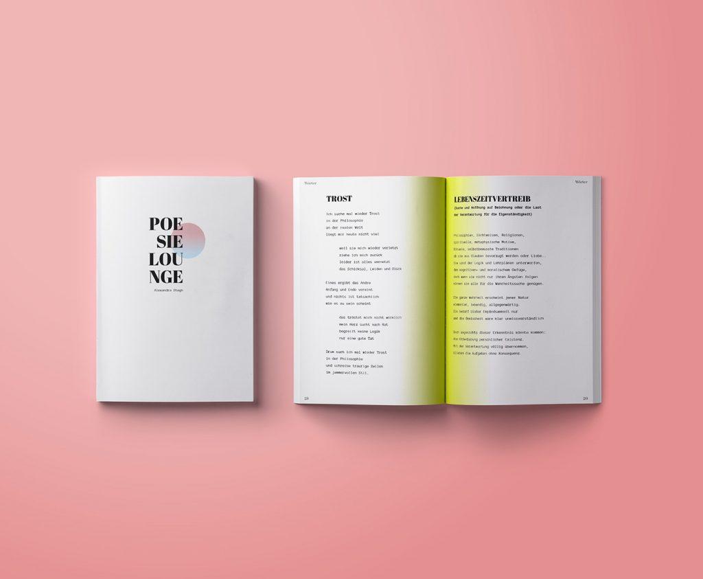 Publikation Design Gedichtband Poesie Lounge