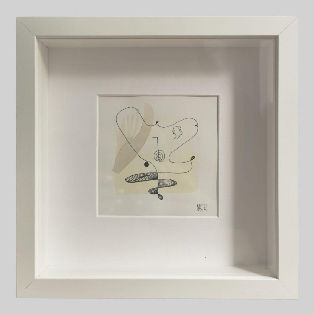 Aquarell und Tusche auf Papier, 11 x 11 cm zeitgenössische abstrakte Kunst